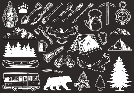 Vintage outdoor recreation elements collection with animals forest and mountains landscapes canoe travel truck camping tools and equipment isolated vector illustration