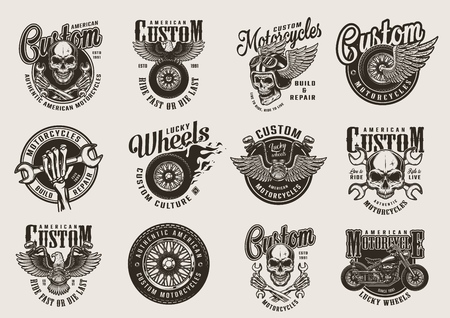 Vintage monochrome motorcycle emblems with motorcyclist skulls eagle fiery and winged moto wheels crossed wrenches chopper steering wheel isolated vector illustration