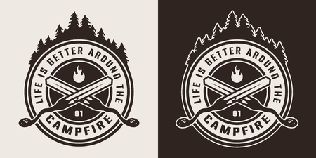 Vintage monochrome camping round logo with crossed skewers and forest silhouette isolated vector illustration