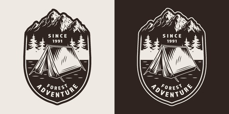 Vintage outdoor recreation monochrome print with tent mountains and forest landscape isolated vector illustration