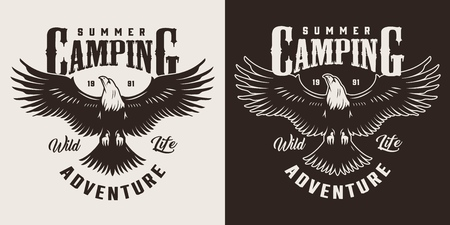 Vintage outdoor recreation label with inscriptions and eagle in monochrome style isolated vector illustration