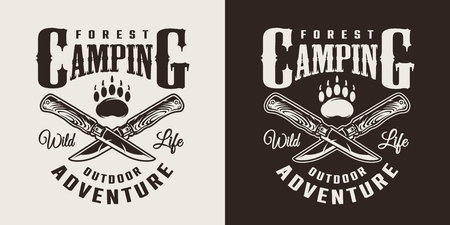 Vintage monochrome summer camping logotype with crossed knives and bear footprint isolated vector illustration