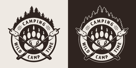 Vintage camping monochrome round badge with bear track marshmallows on crossed sticks isolated vector illustration