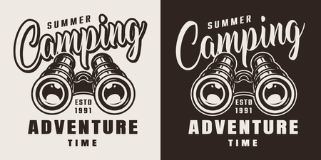 Vintage summer adventure badge with binoculars on light and dark backgrounds isolated vector illustration