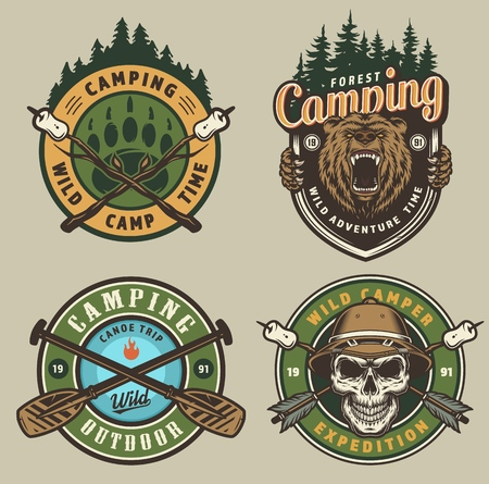 Colorful summer adventure vintage emblems with angry bear head skull in safari hat crossed boat paddles forest marshmallow on wood sticks isolated vector illustration