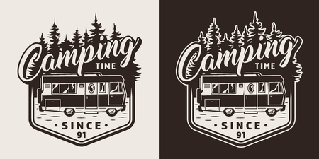Monochrome camping print with recreation truck and forest silhouette in vintage style isolated vector illustration