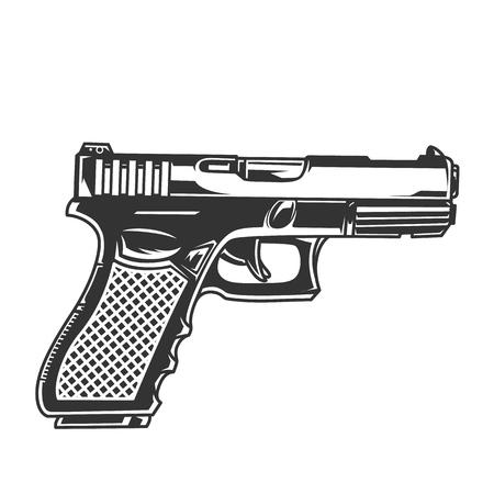 Concept de pistolet glock vintage en illustration vectorielle isolée de style monochrome