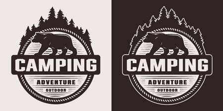 Vintage outdoor recreation round label with walking bear silhouette in monochrome style isolated vector illustration
