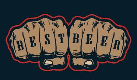 Vintage brewing colorful concept with Best Beer inscription on male fists isolated vector illustration