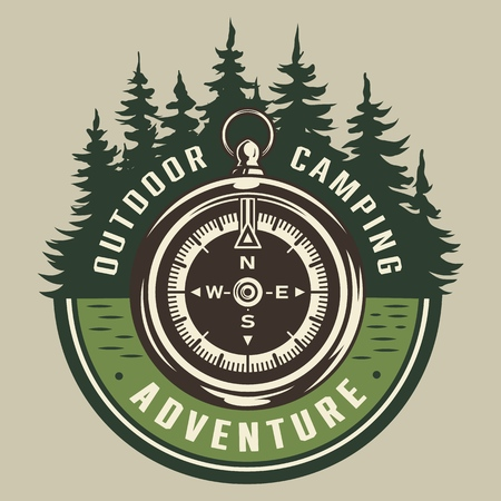 Vintage summer adventure round emblem with navigational compass and forest landscape isolated vector illustration Illustration