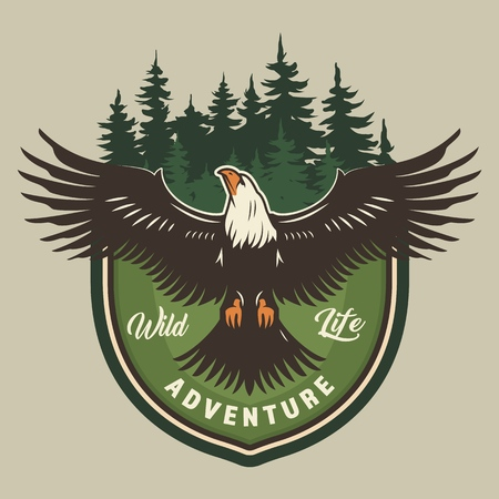 Vintage camping colorful print with eagle and forest isolated vector illustration