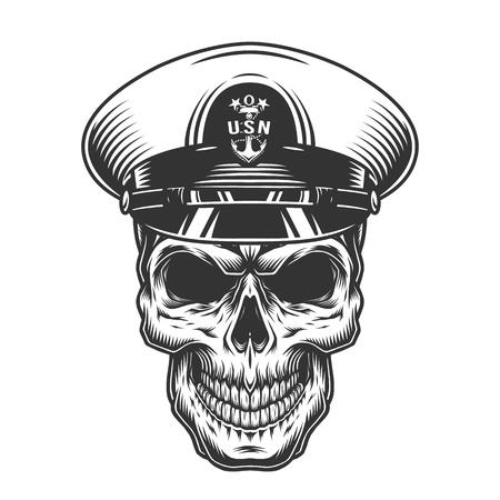 Il concetto militare monocromatico dell'annata con il cranio in cappello dell'ufficiale della marina ha isolato l'illustrazione di vettore vector Vettoriali