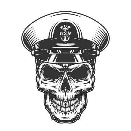 Vintage monochrome military concept with skull in navy officer hat isolated vector illustration