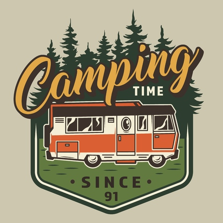 Vintage camping time colorful emblem with motorhome on forest landscape isolated vector illustration