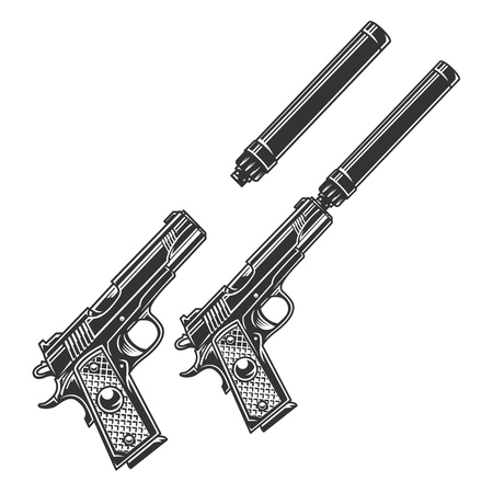 Vintage tactical pistol concept with and without silencer in monochrome style isolated vector illustration Illustration