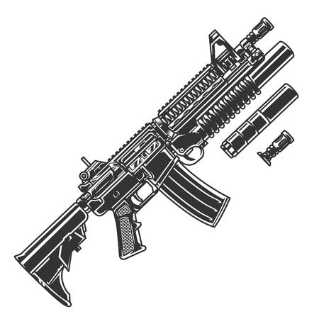 Modello di fucile d'assalto automatico moderno vintage con silenziatore e lanciagranate attaccato all'illustrazione vettoriale isolata del fucile Vettoriali