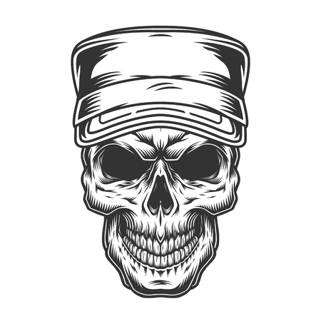 Skull in military cap in vintage monochrome style isolated vector illustration