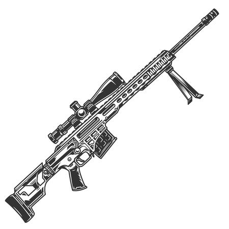 Modello di fucile da cecchino vintage su sfondo bianco illustrazione vettoriale isolato