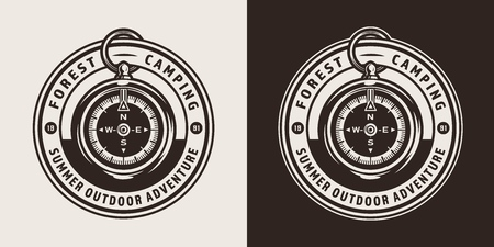 Vintage forest camping round badge with navigational compass in monochrome style isolated vector illustration