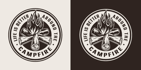 Vintage summer camping round label with campfire in monochrome style isolated vector illustration