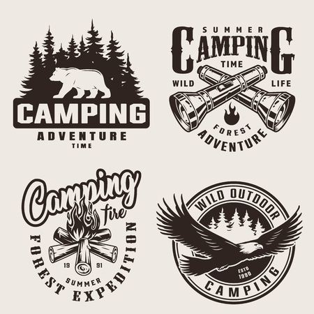 Vintage summer camping labels with forest bear silhouette crossed flashlights campfire flying eagle on light background isolated vector illustration