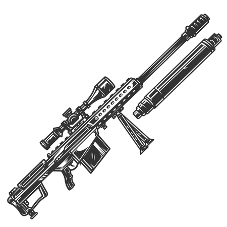 Vintage monochrome sniper rifle concept with silencer isolated vector illustration Illustration