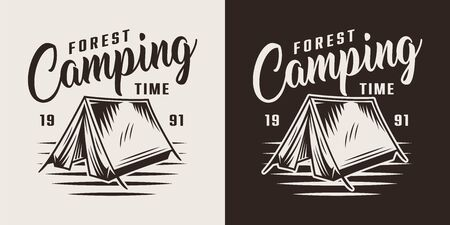 Vintage forest camping label with tent on white and black backgrounds isolated vector illustration