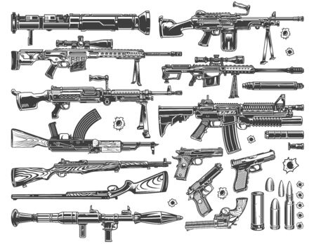 Vintage military elements set with grenade and rocket launchers sniper and automatic assault rifles pistols bullets and bullet holes isolated vector illustration
