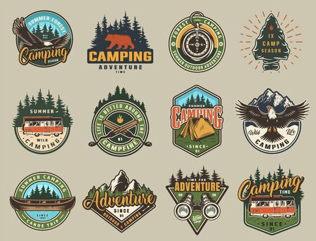 Vintage summer recreation colorful prints with eagle bear navigational compass travel trucks tent canoe binoculars forest and mountain landscapes isolated vector illustration Illusztráció
