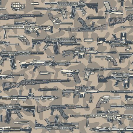 Vintage army colorful seamless pattern with different guns grenade bullets on light camouflage background vector illustration Reklamní fotografie - 125486167
