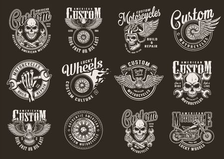 Vintage custom motorcycle emblems with motorcyclist skulls crossed wrenches motorbike eagle winged and fiery moto wheels on dark background isolated vector illustration Illusztráció