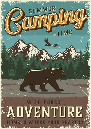 Vintage summer outdoor recreation poster with walking bear flying bird mountains and forest landscape vector illustration Ilustração