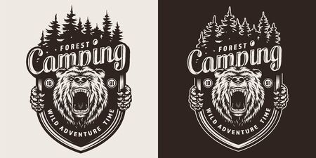 Monochrome summer camping emblem with aggressive bear head and forest in vintage style isolated vector illustration Standard-Bild - 125486174