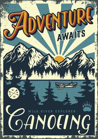 Cartel colorido de la aventura del verano del vintage con el barco de la canoa en la ilustración del vector del paisaje del bosque y de las montañas Ilustración de vector