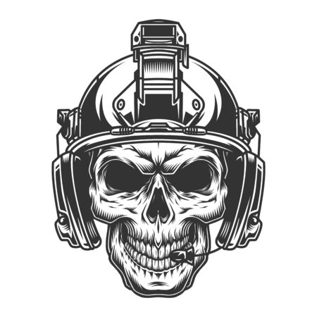 Vintage military monochrome concept with skull in soldier modern helmet isolated vector illustration Illustration