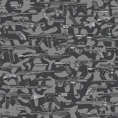 Modello senza cuciture monocromatico militare vintage con assalto automatico e fucili da cecchino lanciarazzi granata proiettili su sfondo mimetico illustrazione vettoriale Vettoriali