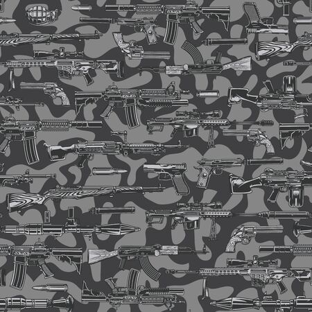 Vintage military monochrome seamless pattern with automatic assault and sniper rifles rocket launcher grenade bullets on camouflage background vector illustration