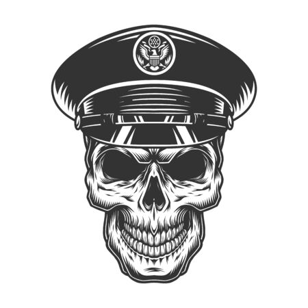Military officer skull in black hat in vintage monochrome style isolated vector illustration