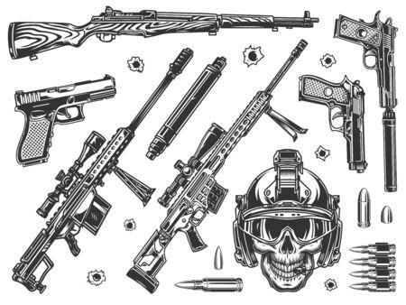 Vintage elementy wojskowe monochromatyczne zestaw z czaszką żołnierza w nowoczesnym hełmie karabiny snajperskie tłumiki pistolety karabin pociski na białym tle ilustracji wektorowych