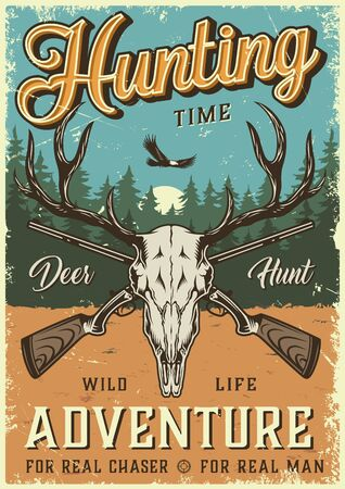 Colorful hunting time poster with deer skull crossed shotguns flying bird and forest landscape in vintage style vector illustration