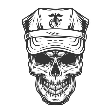 Skull in cap of military officer in vintage style on white background isolated vector illustration