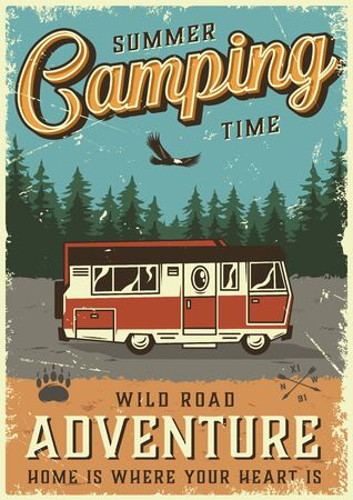 Colorful summer adventure poster with travel truck on forest landscape in vintage style vector illustration Illustration