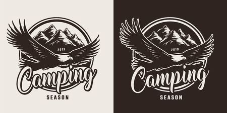 Vintage monochrome camping logo with flying eagle on mountains landscape isolated vector illustration