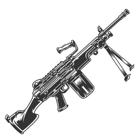 Il concetto di fucile automatico moderno vintage in stile monocromatico ha isolato l'illustrazione vettoriale