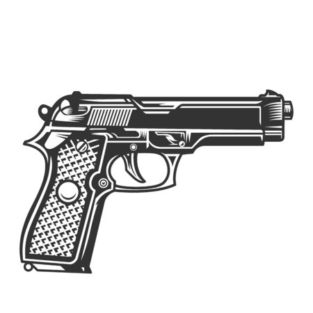 Monochrome handgun template in vintage style isolated vector illustration