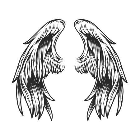 Vintage angel wings template in monochrome style isolated vector illustration