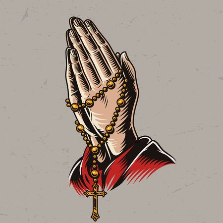 Priest praying hands with rosary beads in vintage style isolated vector illustration Vettoriali