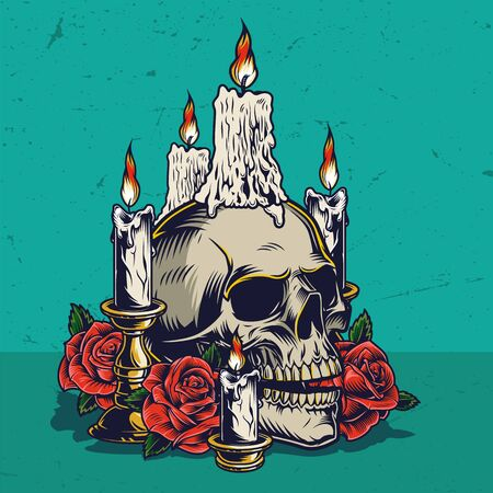 Day of Dead colorful vintage concept with skull burning candles and beautiful rose flowers isolated vector illustration Foto de archivo - 128069870