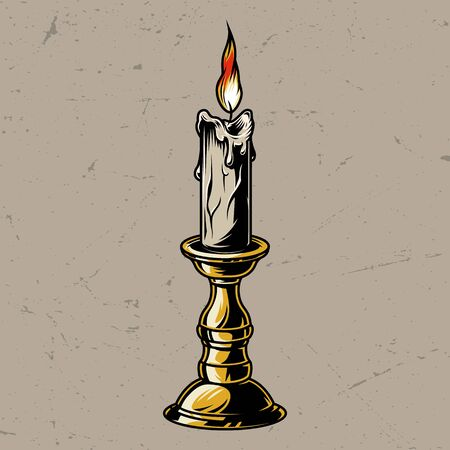 Vintage colorful burning candle in candlestick isolated vector illustration