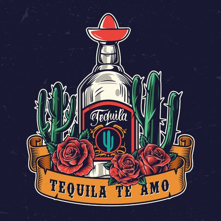 Tequila festival colorful vintage concept with cactuses tequila bottle and roses on dark background isolated vector illustration